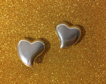 Lovely Vintage Puffy Heart Clip On Earrings ~ Stamped 925 Mexico