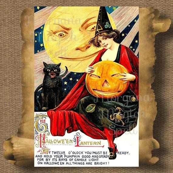Vintage Halloween Lantern Postcard Royalty Free Clipart