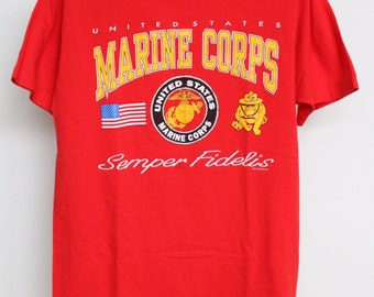 Vintage USMC Marines T Shirt Mens Large Unisex Womens Red All Cotton U S United States Army Military Corps Fruit Of The Loom Semper Fidelis