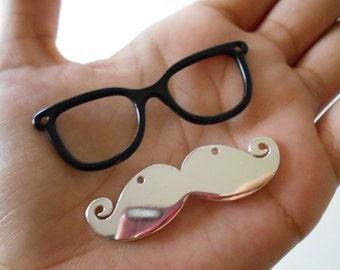Mustache w/ Glasses Pendants