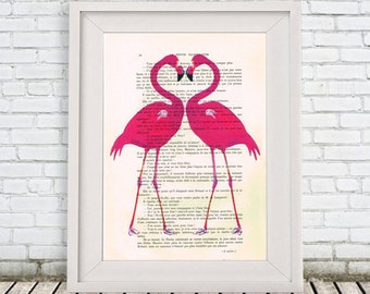 Flamingo Print, Flamingo Artwork, Bird Illustration, Flamingo Heart, Love Print, Valentines Gift, Pink, Flamingo Decor, Wall Hanging