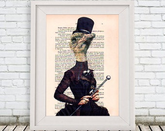 Steampunk Ostrich Print, Bird Print, posters Mixed media Illustration, Wall Art Prints,  Drawing painting acrylic digital, french vintage