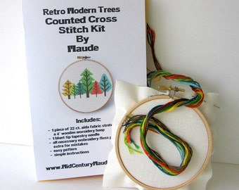 Retro Trees Cross Stitch kit Modern Needlepoint Easy Pattern Embroidery Floss, Hoop, Cloth, and Needle