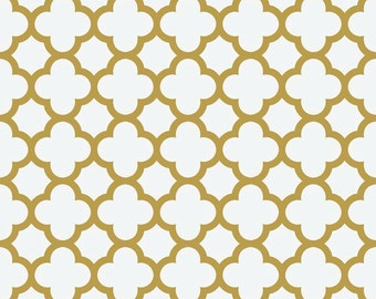 Quatrefoil Sparkle Gold,SC435-52 Gold,from Riley Blake Fabrics, Metallic Gold High Quality Fabrics,Table Runners, Etc.