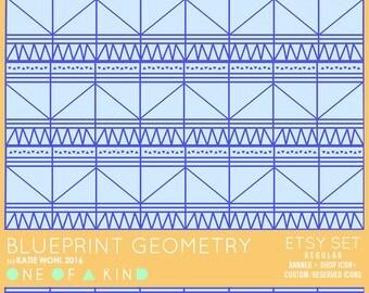 Blueprint Geometry - etsy set