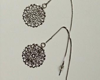 Silver Medallion Threaded Earrings