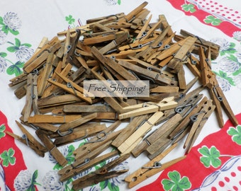 Clothes Pins 90 + Weathered Spring Clip Rustic Used Vintage Free Shipping!