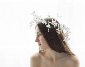 White Wedding Butterflies Crown Wholesale Handmade Hair Accessory Decoration Butterflies Coronal Bridal Wedding Hair Wedding Tiara