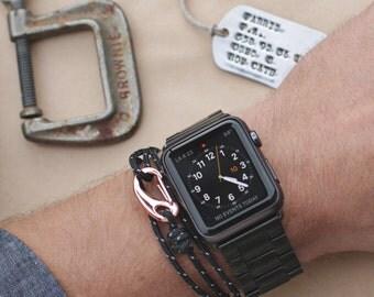 Men's Jewelry - Rope bracelet for men - hook wrap around bracelet - blue rope bracelet - naval adjustable bracelet for men - men's jewelry
