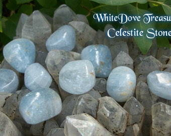 "Celestite Stone Tumbled Angel Communicator Electric Energy 1"" Ice Blue Ray Alchemy Creative Metaphysical Crystal Heal Reiki Yoga Feng Shui"