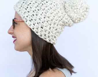 Slouchy Beanie, Pom Pom hat, Winter hat, Knit hat, Crochet hat, White Winter hat with pom pom (The Brighton Pom Pom Hat in Wheat)
