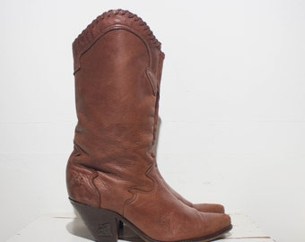 8 M | Women's Zodiac Western Fashion Boots Tall Heel Soft Brown Leather Boots