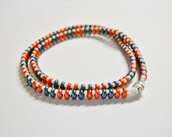 Americana Bracelet, Beaded,  Red, White, Blue double wrap Bracelet, Americana Red and Blue Super -duo beads, white seed beads.  Hand made,