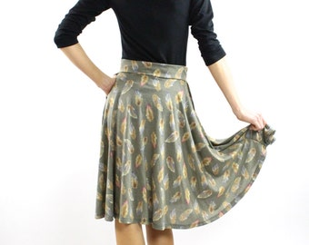 Grey Circle Skirt aline side pockets Cotton rayon feather print ON SALE Before 114 Dollars midi spring summer fashion Rose Temple XS S M L