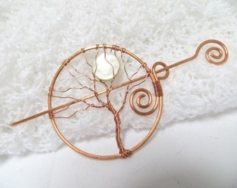 Copper Tree of Life Hair Pin, Green Moon Shawl Pin, Wire Wrapped Tree Pin, Copper Tree Pin, Tree Hair Twist Pin
