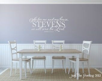 "Vinyl Wall Decals ""As For Me And My House We Will Serve The Lord"" Scripture- Home Decor Vinyl Lettering"