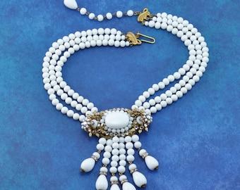 Vintage MIRIAM HASKELL Milk Glass Bead Dangle and Rhinestone Rose Montes Runway Bib Necklace Statement Piece!