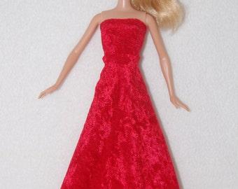 Barbie doll long dress - red- A4B038
