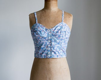 1990s Blue floral cropped top