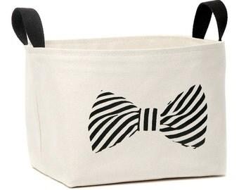 SALE! Striped Bowtie Fabric Storage Basket