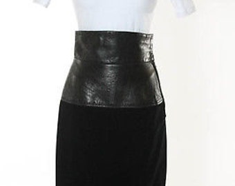 Vintage YVES  SAINT LAURENT  Corset Leather And Velvet  High Waisted Pencil Skirt   Modern Chic size 38