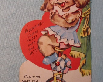 Vintage 1940's Large Movable Valentine.  Dye Cut for Standing Card