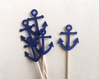 Mini Nautical Anchor Cupcake Toppers, Mini Cupcake Toppers, Shower, Wedding, Party Decor, Blue, Double-Sided, Set of 18
