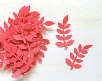 Dark Coral Leaf Frond Confetti, Fern Frond, Party Decor, Weddings, Showers, Birthdays, Celebrations, Spring, Summer, Nature, Set of 100