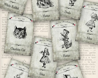 Alice in Wonderland Labels printable paper crafting scrapbooking card making diy instant download digital collage sheet - VDLAAL1192