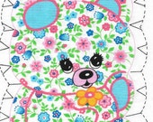 Bear Fabric Pillow Panel 1970s Blue Pink Floral Print Stuffed Toy DIY Sewing Sew and Stuff