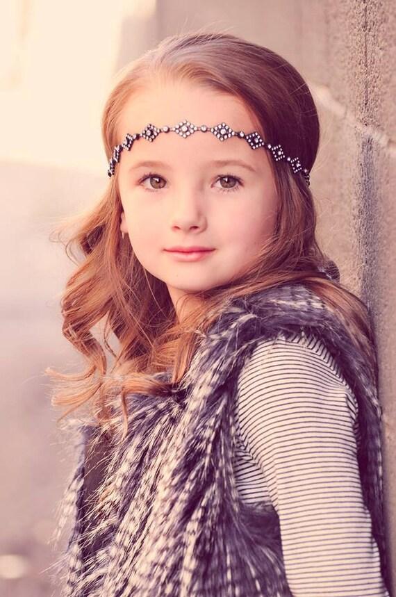 FW15- Simply Chic Line - Black Diamond Rhinestone Headband - Newborn, Child, toddler, Adult, Teen, flower girl wedding