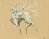 King Stag, art print, fantasy art, deer stag cernunnos