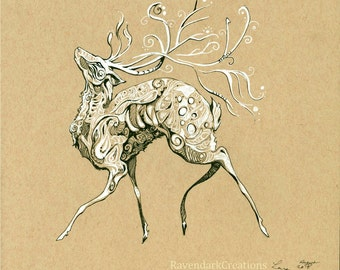 King Stag, art print, fantasy art, deer stag cernunnos
