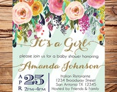 Watercolor Baby shower invitation floral baby shower Invitation, It's a Girl, gold, mint,  stripes, watercolor 1651