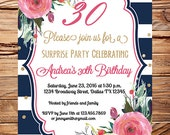 Roses Watercolor 30th Birthday Invite, Adult Birthday, 40th, 50th, 60th Birthday, 70th, 80th, navy, pink roses, navy white stripes, floral