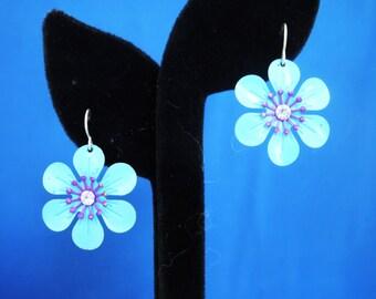 Blue and Purple Daisy Earrings Vintage Flower Earrings Vintage 1960's Earrings Gifts for Her Unsigned Earrings #8014