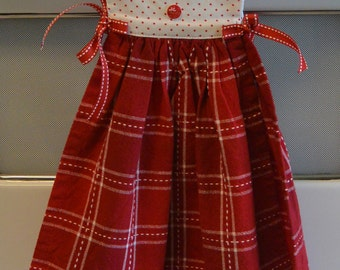Kitchen Towel Dress, Red and White