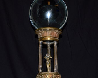Antique Crystal Gazing Ball on Art Nouveau Brass Stand - Greek Oracle - Fortune Telling / Scrying / Mediumship / Divination - Large!