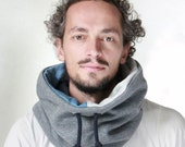 Hoody style cowl, unisex cowl scarf, Snock®, cowl scarf in thick melange cotton