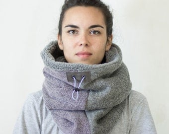 Thick chunky cowl scarf, Snock®  lined with extra warm faux lamb