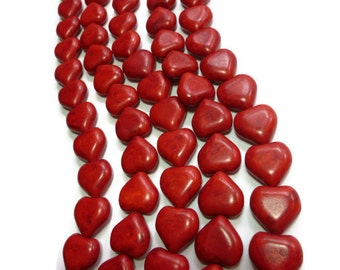 Red Howlite - Heart Bead - 18mm x 17mm x 9mm - Full or Half Strand - 25 or 12 beads - Cherry Scarlet Crimson - Synthetic Turquoise - hearts
