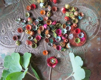 30 Itty Bitty Tenny Weenie Tiny Colored Metal Flowers
