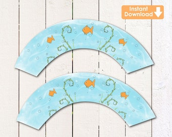 Under the sea/ Gold fish (instant download) printable cupcake wrappers