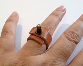 Soft Leather Ring - Medium Brown - Wrapped Around Ring - Cool Leather Jewelry