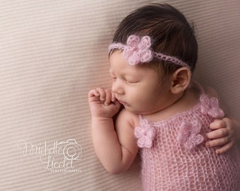 Newborn girl knit mohair romper onesie -Knit lace romper set for girls-headband and matching romper in lace mohair-Newborn photography props
