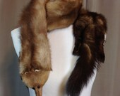 Vintage Mink Stole or Scarf with Three Full Pelts Including the Heads, Legs and Feet 69 Inches Long 5.5 Inches Wide (ss)