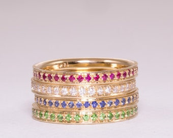 Sapphire, Emerald, Diamond & Ruby Eternity Ring together - 14k gold.