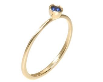 Blue Sapphire Engagement Ring Geometric Engagement Ring Natural Blue Sapphire Ring Blue Saphire Engagement Ring Gemstone Engagement Ring