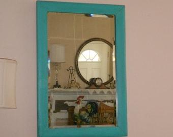 Antique Tiger Maple Veneered Wood Frame Painted Sea Glass Green & Original Relic Beveled Mirror Circa 1911