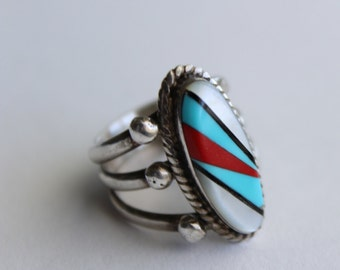 Navajo Sterling Silver Inlay Ring - size 7 1/4 turquoise Red coral Onyx and Mother of Pearl